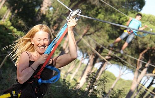 Zip Line in Between Branches - Villas Flamenco